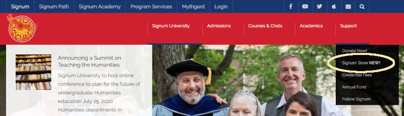 Access the Signum University Store from the Support menu